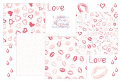 Love set. Hearts kisses doodle clipart, frames and pattern Product Image 4