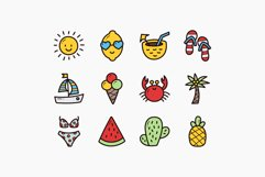 Summer Doodle Icons - Colorful & Outline Product Image 3