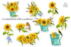 Sunflower Watercolor Clipart. Summer boho flower, bird Product Image 2