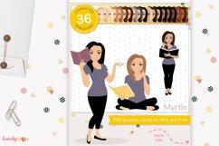 Book club girl clipart, teacher, student, Myrtle LVA11 Product Image 1
