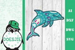 Layered Dolphin SVG multi layer mandala sea animal nautical Product Image 1