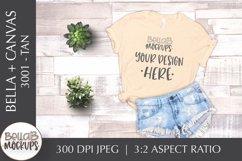 Bella Canvas 3001 Woman's T Shirt Mockup, Tan, Flat Lay Product Image 1
