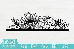 Floral SVG Header - Sunflower SVG - Line Art Flowers Product Image 1