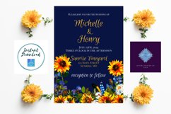 Sunflower and Blue Wedding Invitation Product Image 3