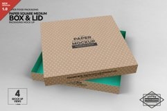 Medium Square Paper Box and Lid Packaging Mockup Product Image 1