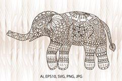 Elephant mandala, elephant coloring page, hand-drawn Product Image 1
