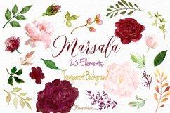 Watercolor Marsala and Blush Bundle for Weddings Product Image 5