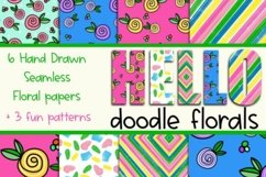 Hello Doodle Florals Seamless Digital Papers Product Image 1