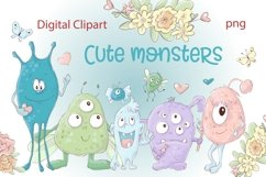 Clipart Cartoon Cute Monsters Product Image 1