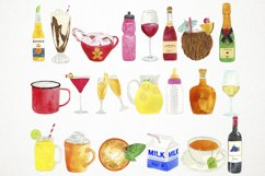 Watercolor Drinks Clipart, Drinks Clip Art, Beverage Clipart Product Image 3