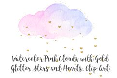 Watercolor Pink Clouds with Gold Stars and Hearts Clip Art Product Image 3