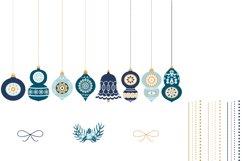 Blue Christmas Ornaments, Balls, Baubles, Bells Clip Art Set Product Image 3
