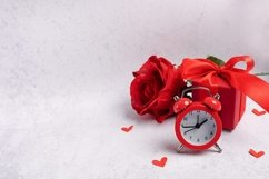 Valentines Day greeting card red alarm clock, gift box Product Image 1