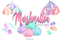 Marshmallow watercolor clip art Product Image 1