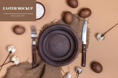 Sustainable Easter mockup with clay plate and eggs Product Image 1