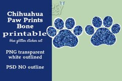 Chihuahua Blue Glitter Printable Sticker SET Product Image 2