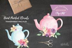 Watercolor Teapots Clipart Bouquets Flowers  Wonderland Florals  Tea Product Image 3