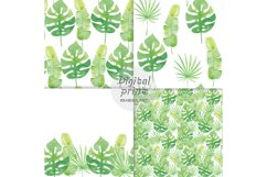 Watercolor Seamless Pattern Tropical leaves Orchidea Magnoli Product Image 4
