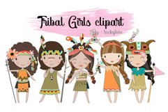 Tribal girls , girl Clipart Instant Download PNG file - 300 Product Image 1
