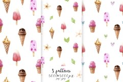 Watercolor Ice Cream and Cold Drinks. Seamless Patterns Product Image 3