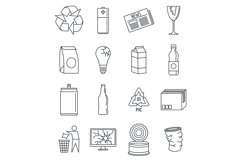 World recycles day icon set, outline style Product Image 1