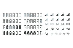 Battery icons. Black charge level gsm and wifi signal streng Product Image 1