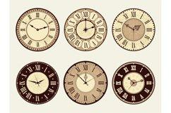 Vintage clock. Elegant antique metal watches vector illustra Product Image 1