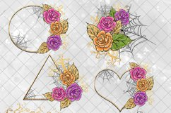 Halloween Flowers Clipart, Roses Clip Art, Stickers PNG Pack Product Image 4