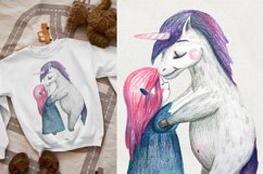 Cute girl hugging unicorn. PNG, JPEG for Sublimation print Product Image 2