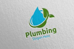 Eco Plumbing Logo with Water and Fix Home Concept 48 Product Image 4