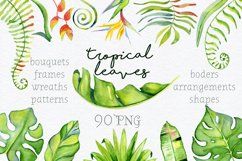 Tropical leaves Watercolor clipart Product Image 1
