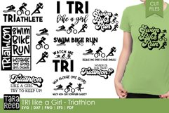 TRI like a Girl - Triathlon SVG and Cut Files for Crafters Product Image 1