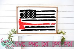 Firefighter Axe Distressed Flag - A Firefighter Flag SVG Product Image 2