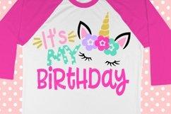 Unicorn svg - Birthday svg - Birthday girl svg - Birthday unicorn svg - 1st birthday svg - girl's svg ,Printable - shirt svg dxf png eps pdf Product Image 1