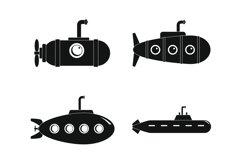 Periscope telescope icons set, simple style Product Image 1