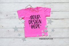 Kids pink shirt mockup, flatlay, silver stars Product Image 1