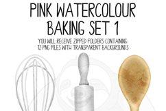 Pink Watercolor Baking Clip Art Set Product Image 5