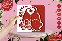 Papercut Romantic Gnome Couple with Hearts Card Cover Design Product Image 1