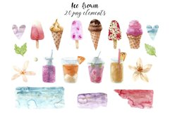Watercolor Ice Cream and Cold Drinks. Seamless Patterns Product Image 2