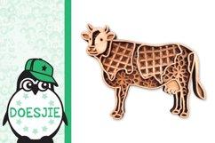 Cow farm animal 3d svg model multi layer mandala layered Product Image 3