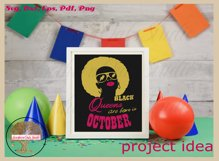 Black queens are born in October birthday t shirt design Product Image 4