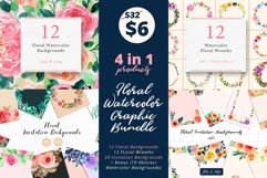 4 in 1 - Floral Watercolor Graphic Bundle Product Image 1