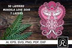 3D Layered Mandala - Love Dove - SVG Product Image 1