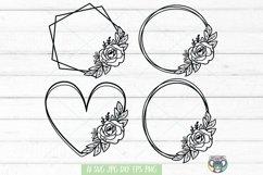 Floral Wreath svg, Frame svg, Flower svg, Files for Cricut Product Image 1