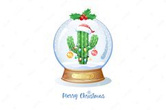Christmas greeting card with cactus inside a snow globe. Product Image 1
