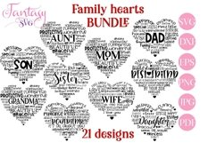 Family Hearts BUNDLE - Svg Cut Files Product Image 1