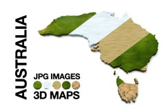 AUSTRALIA 3D Maps Images Dry Earth Snow Grass Terrain Sand Product Image 1