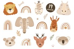 Baby Animal Faces Clipart, Boho Rainbow Elements, Florals Product Image 1