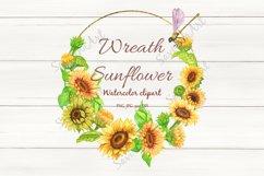 Sunflower bouquet Watercolor clipart, Sunflower wreath. Product Image 1