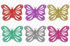Glitter Butterflies Clip Art / 6 PNG Transparent Backgroun Product Image 3